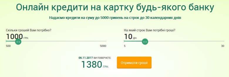 Кредитный калькулятор Капуста у Кишені