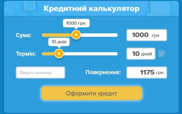 Кредитний калькулятор сервісу Кредит 365