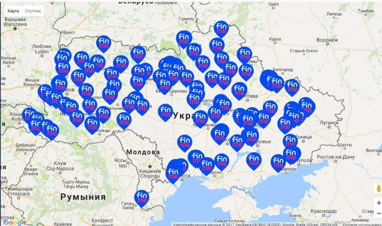 Карта відділень-партнерів Finme