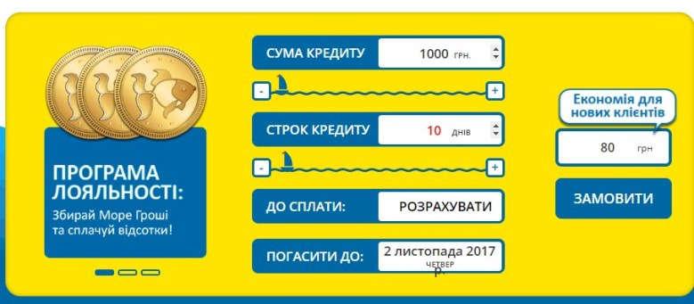 Кредитный калькулятор сервиса Море Грошей